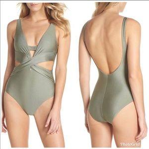 BECCA Ballerina Swimsuit Metallic Green New
